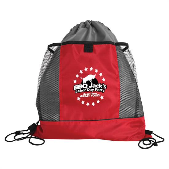 DS18M - The Sportster - Drawstring Bags with Mesh Pockets
