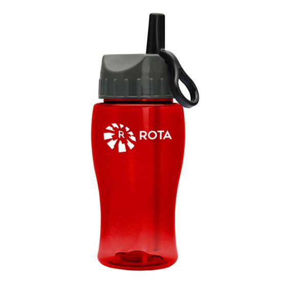 TB18A - 18 oz. Transparent Bottle with Flip Straw Ring Lid
