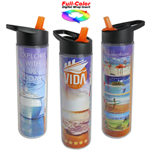 Full Color Wrap 16 Oz. Insulated Bottle with Flip Straw Lid