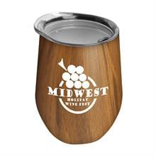 The Woodtone Vino - 10 oz Stainless Steel Stemless Wine Glass Shaped Tumbler